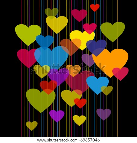 illustration with transparent colorful hearts on black bg