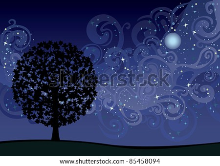 illustration with tree under