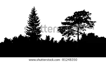 illustration with trees isolated on white background