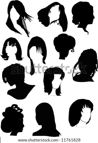 stock vector : illustration with twelve black woman hairstyles