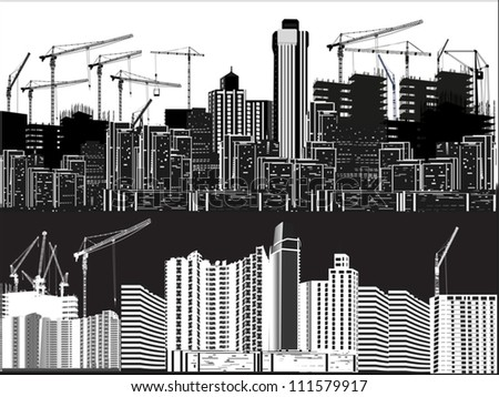 illustration with two cities silhouettes isolated on white background