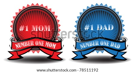 Illustration with two colorful badges with the text number one mom and dad written on the badges