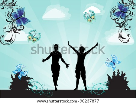 illustration with two jumping silhouettes on blue background