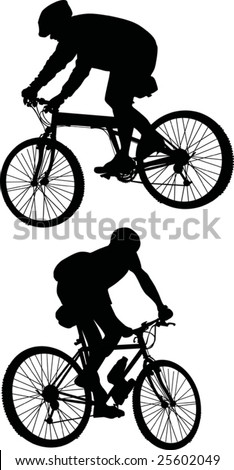 illustration with two men silhouettes on bicycles isolated on white background