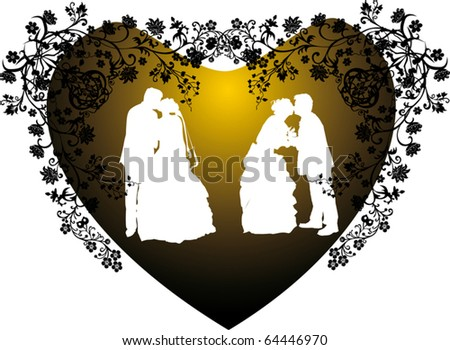 stock vector illustration with two wedding couples silhouette in heart
