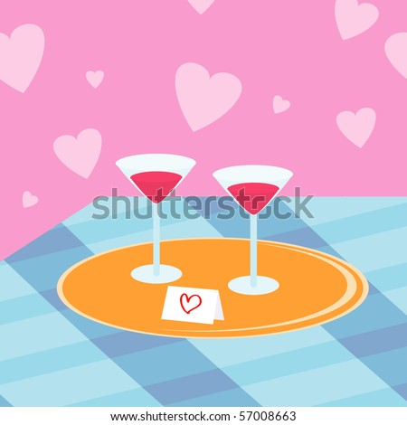 Illustration with two wine glasses and valentine card on the tray.