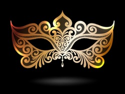 Illustration with Venetian carnival mask. Vintage gold lace
