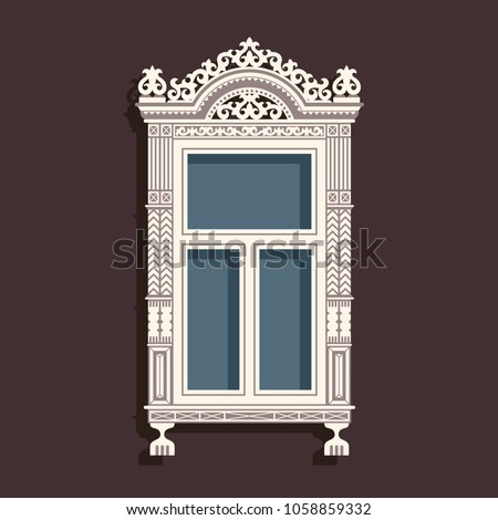 Illustration with vintage wooden window. Can be used for cards, banner, print, etc.