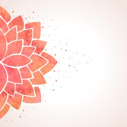 Illustration with watercolor red lotus flower. Oriental chinese, japanase or indian background. Flower pattern on white background. Vector illustration