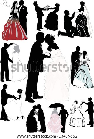 stock vector illustration with wedding couple silhouettes isolated on