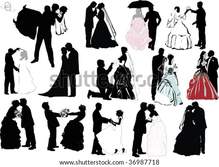 illustration with wedding couple silhouettes isolated on white background