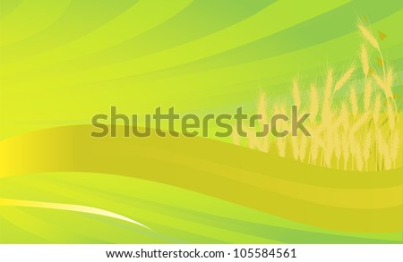 illustration with wheat silhouettes on bright background