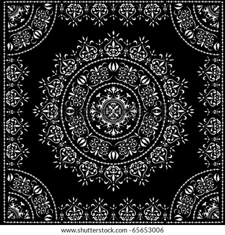 illustration with white decoration on black background - stock vector