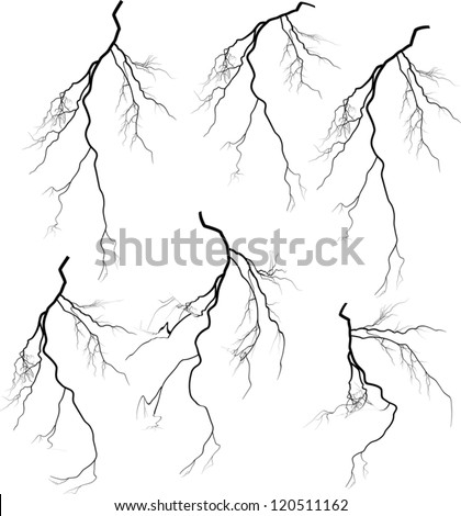 illustration with white lightning collection isolated on black background