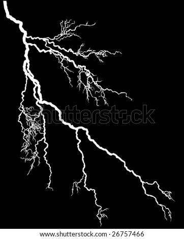 illustration with white lightning isolated on black background