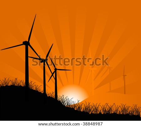 illustration with wind turbines at sunset