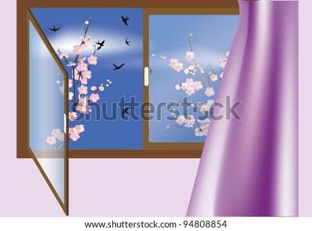 illustration with window, cherry tree flowers and birds