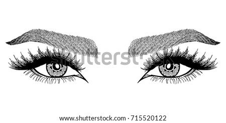 royalty free pair of eyes hand drawing vector 403500121 stock