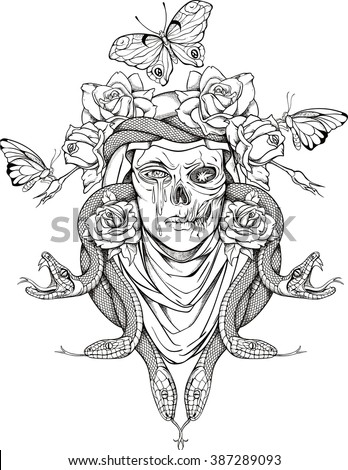 illustration with woman skull