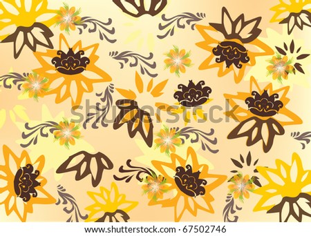illustration with yellow flower background