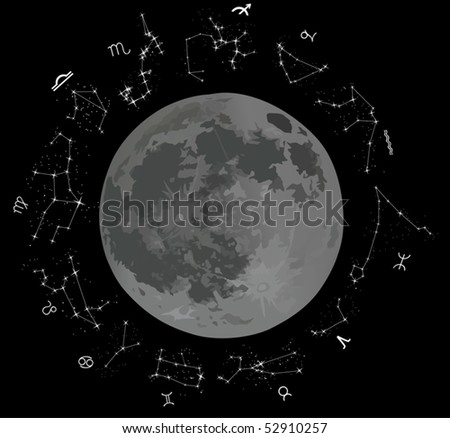 illustration with zodiac constellations isolated on black background