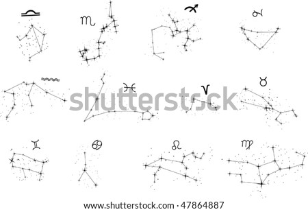 illustration with zodiac constellations isolated on white background
