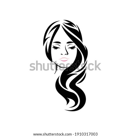 illustration woman face long