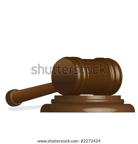 illustration, wooden gavel to judges on white background