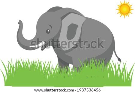 Illustrationen visar en tecknad elefant Stock fotó ©