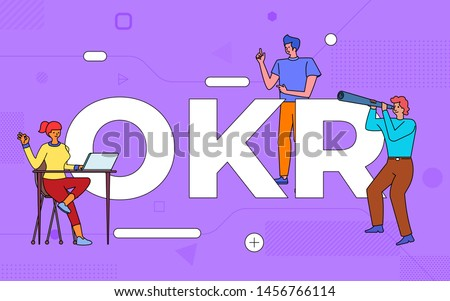 Illustrations business teamwork create business objective key result working together. buildind text concept OKR.Vector illustrate.