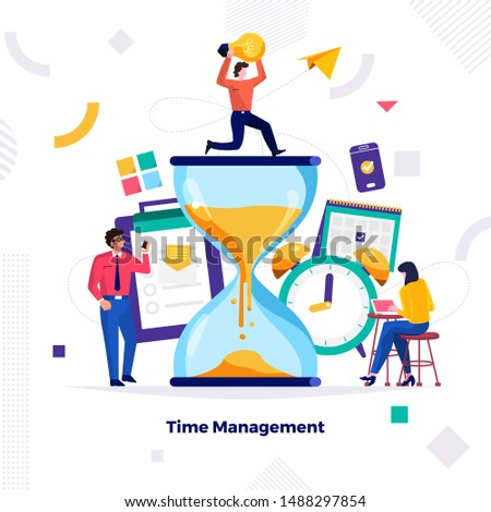 Illustrations concept design of time management. businessman can comtrol work and life. Use for banner website and content. Vector illustrate.