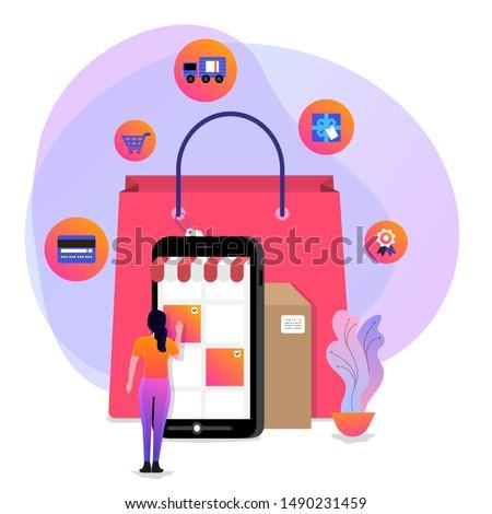 Illustrations concept design online shopping. Shopper use internet device buy product e-commerce. Vector illustrate.