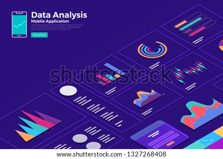 Illustrations concept isometric data  analysis and report static wit graph and chart graphic. Template design for website template banner. Vector illustrate.