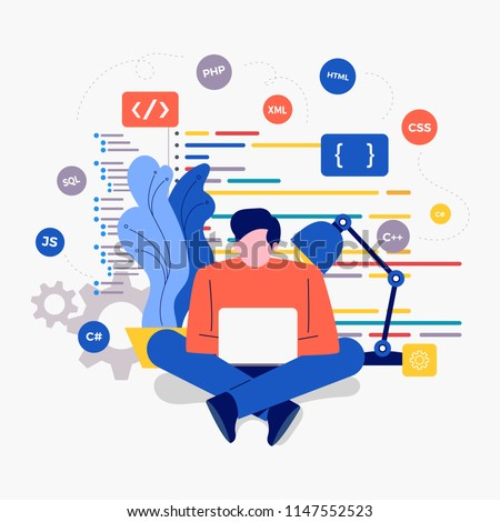 Illustrations design concept developer create code programming language with icons. Vector illustrate.
