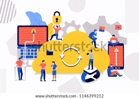 Illustrations design concept small people business man and woman create cloud storage technology together. Vector illustrate.