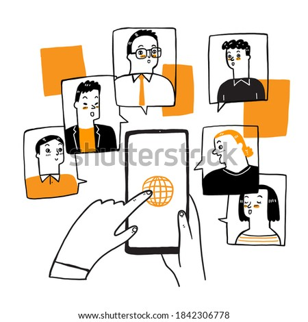 Illustrations doodle concept video conference online meeting work form home.