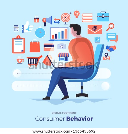 Illustrations flat design concept consumer behavior. Analysis digital footprint with graph chart icon interesting of people. Internet device. Vector illustrate.