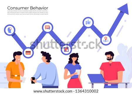 Illustrations flat design concept consumer behavior. Analysis with graph chart icon interesting of people. Internet device. Vector illustrate.