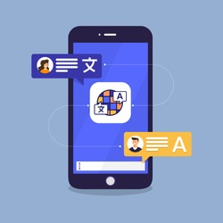 Illustrations flat design concept language translate. Chat message on mobile translate application. Vector illustrate.
