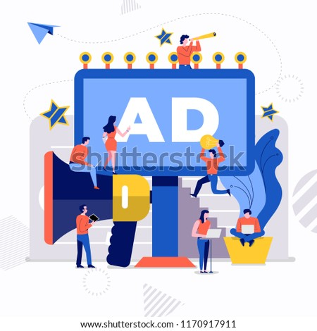 Illustrations flat design concept small people working together create big icon about billboard advertising agency. Vector illustrate.