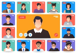 Illustrations flat design concept video conference. online meeting work form home. Call and live video. Vector illustrate.