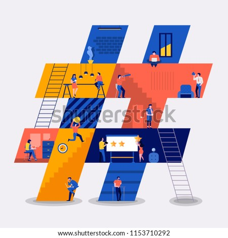 Illustrations flat design concept working space building icons hashtag. Create by small business people working inside. Vector illustrate.