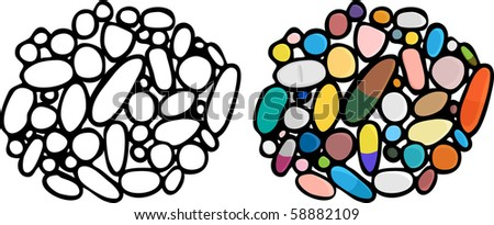 Illustrations of a third set of drugs/medications/supplements which can be used in any pill color or as specific types shown.