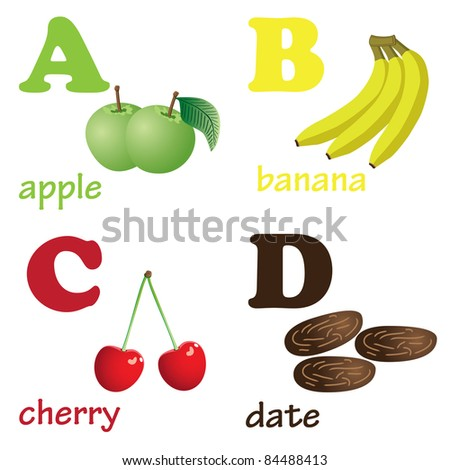 Illustrations of alphabet letters from A to D with pictures of fruits
