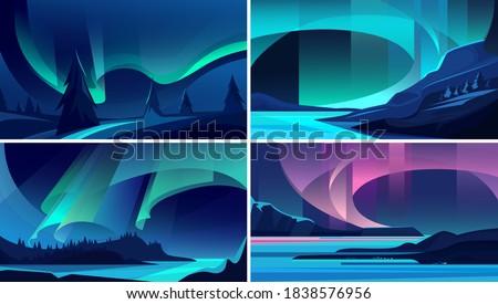 Illustrations of aurora borealis. Beautiful nature landscapes. Stock photo ©