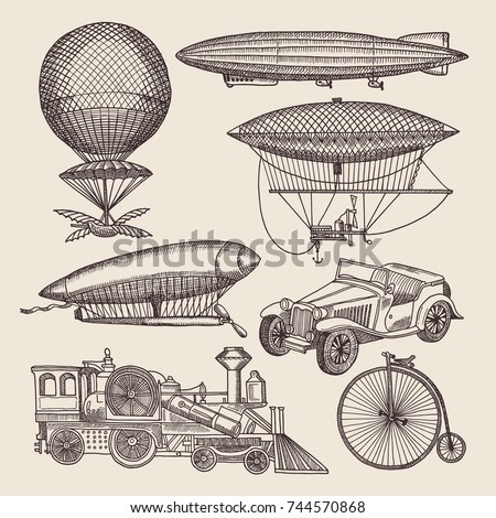 Illustrations of different retro transport. Balloons, zeppelin, machines and others. Hand drawn illustrations in steampunk air transport zeppelin and aircraft, dirigible and ballon vector