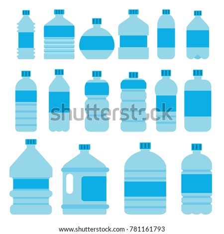 Illustrations of empty plastic bottles in flat style. Plastic container for liquid and clean water drink, mineral beverage fresh vector