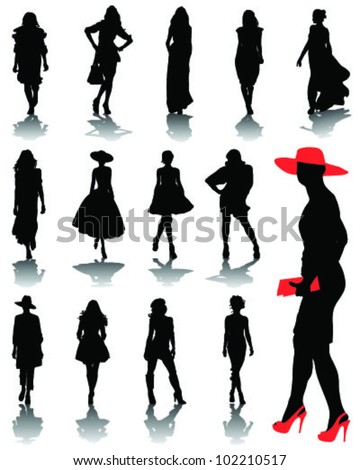 Illustrations of fashion, silhouettes and shadows 2-vector