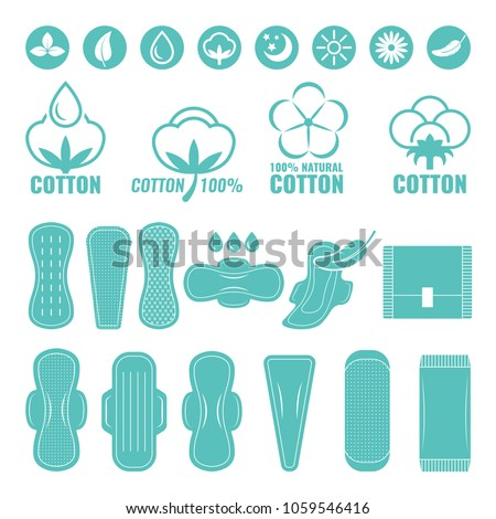 Illustrations of feminine ultra light pads from cotton. Vector pad napkin for female hygiene and protection