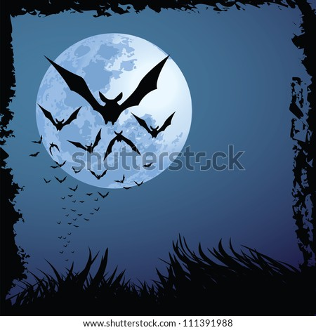 illustrations of Halloween night with bats flying over blue moon, with grunge style.
